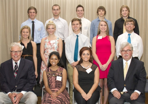 Scholarship winners back row left to right: Jordan Smith, Stephen Wedekind, Jacob Smith, Noah Woodward and Daniel Ganter; middle row left to right: Sarah Rose, Deanna Rush, Gabriel Gowen, Kristin Thompson and Daniel Heise; front row left to right: Norbert Siegfried, former longtime Chairman of St. Anthony's Board of Directors, Ema Mathai, Amina Mujabasic and Michael Rindler, St. Anthony's Office of the President and CEO.